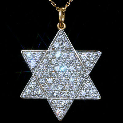 2Ct 100%Natural Diamond 10K Gold Cluster Jewish Star Necklace EFFECT 5Ct PWG88-9