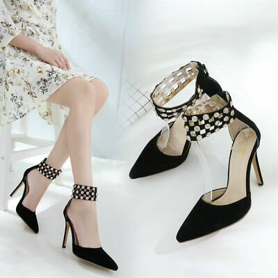 Sexy Womens Pointed Toe Stiletto Shoes Diamante Ladies Ankle Strap Pumps Sandals