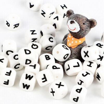 130 260 A-Z Silicone Alphabet Letter Cube Beads for Baby Bracelet Pacifier Chain
