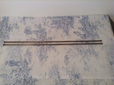 Pair Vintage French Brass Extendable Cafe Curtain Rods (3994)