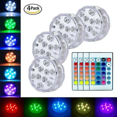 UK Stock 4 Pack Remote Control Color Colored LED Light Boundery Style Waterproof