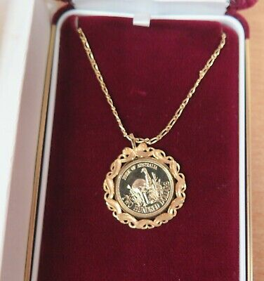 1991 $200 Gold Emu Coin with GOLD surround & GOLD Chain plus RAM - Cert 2