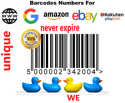 UPC EAN Numbers Barcodes Bar Code Amazon UK EU Lifetime Guarantee 50 - 100000