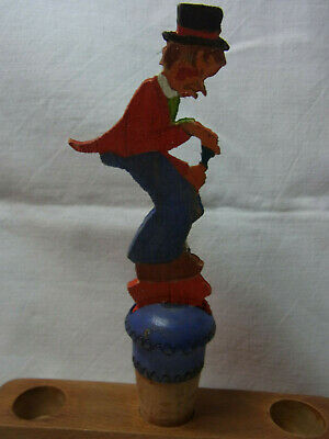 Vintage German Fretwork Hand Painted Bottle Stopper Man with Hat #AC26