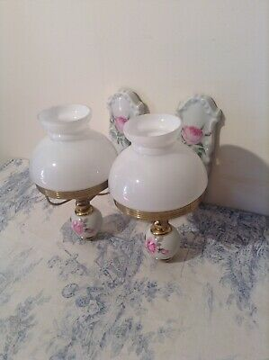 Vintage French Limoges Porcelain Wall Lights - Opaline Glass Shades (3999)