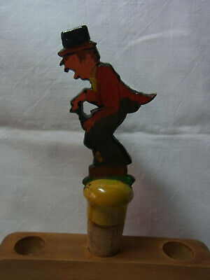 Vintage German Fretwork Hand Painted Bottle Stopper Man with Hat Jacket #AC27
