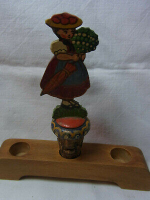 Vintage German Fretwork Hand Painted Bottle Stopper Black Forest Women #AC29