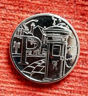 2019 Alphabet 10p Ten Pence Coin Letter P - Postbox Uncirculated from sealed bag