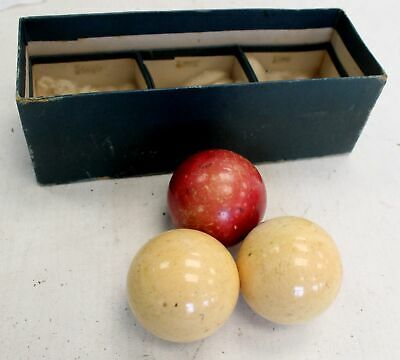 Set Of Three Vintage Billiard Balls, One Red Two White In Box - T12
