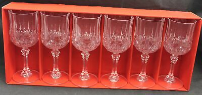 6x CRISTAL D' ARGUES French 12 cl Lead Crystal Stem Glasses BOXED - B28