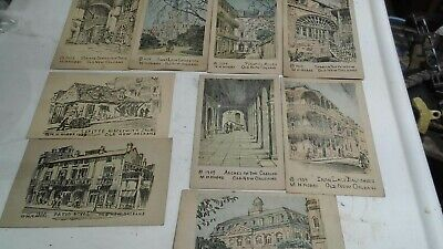 postcards lot 10 Cards Pencil Drawings by M H Hobbs New Orleans La. dated 1943
