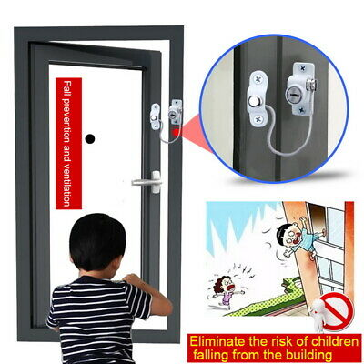 1PC Window Door Restrictor Security Cable Key Lock Catch Wire for Baby Safety UK