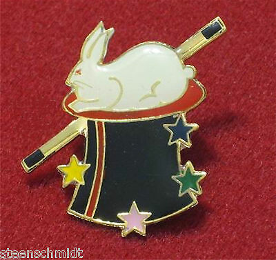 Awesome Magic Lapel Pin Rabbit In Hat plated in gold Wand Colorful Tie or Jacket