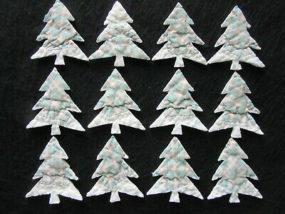 12 Vtg Cutter Quilt Small Plaid Christmas Trees  - Appliques!  - Crafts!