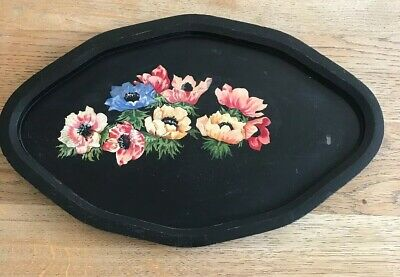 Antique Vintage Folk Art Black Floral Hand Painted Tray