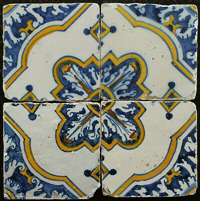4 Portuguese polychrome antique tiles from 17th Century
