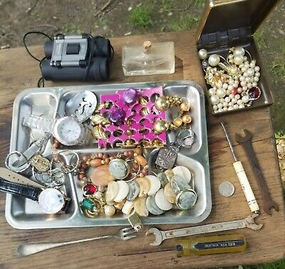 Junk drawer lot old vintage jewlery some  real silver stones ?  tools money coin
