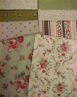 8 Cotton Quilt Fabric FQ Fat Quarters 18 x 22 Pack Prints Green Buff LOT
