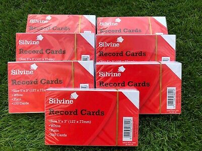 Silvine Record Cards Plain 5x3 Pack of 1000 White Color White by Silvine