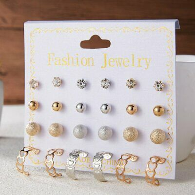 Wholesale a Set Of 12 Pairs Pearl Zircon Round Circle Ear Studs Women Earrings