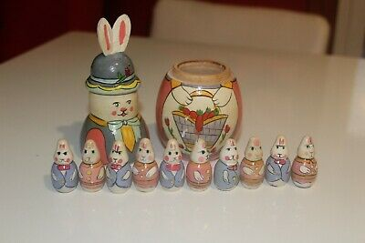 Vintage Wooden Nesting Bunny Matryoshka Style Doll with 10 Mini Bunnies