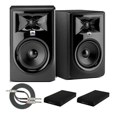 """JBL 306P MkII Powered 6"""" Two-Way Studio Monitors (Pair) with Iso Pads and Cable"""