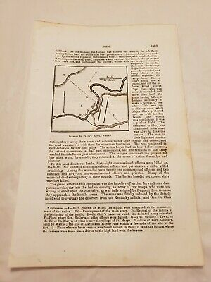 CR38) Map Plan of St. Clair's Battlefield Ohio 1863 Engraving