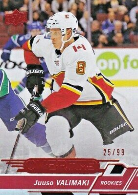 2018-19 Ud Overtime Hockey,# 112,Red Parallel **/99,Juuso Valimaki,Flames