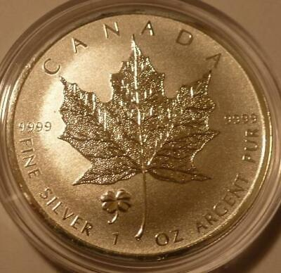 2016 *LUCKY 4 LEAF CLOVER PRIVY* CANADA MAPLE LEAF 1 oz. SILVER REVERSE PROOF $5
