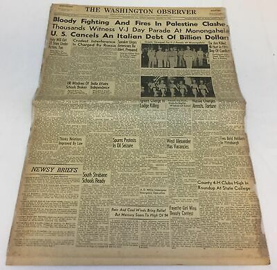 August 15, 1947 newspaper ~ Washington Observer ~ INDIA ATTAINS INDEPENDENCE