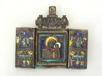 Antique russian icon triptych bronze enamel cross