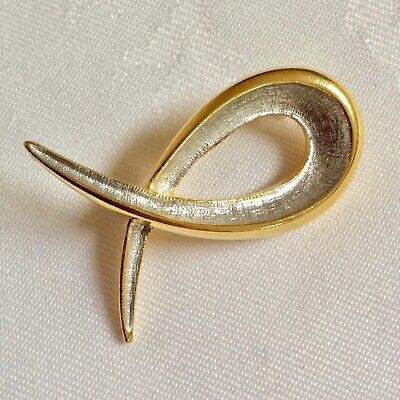 Vintage Sphinx? 1037 Silver & Gold-tone Abstract Modernist Brooch