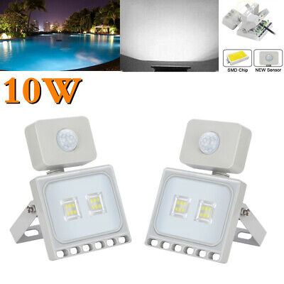 2PCS 10W PIR LED Floodlight Motion Outdoor Security Waterproof Lamps Cool White