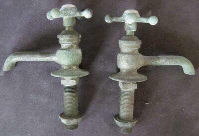 Pair of Circa 1930's Antique Salvaged Brass Faucets