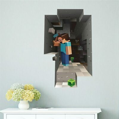 Minecraft Cartoon Game 3D Wall Stickers For Kids Rooms Mural Poster Home Decor