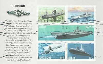 2000 Sumarine Dolphin Pin Booklet Page Complete Us Stamps - Used