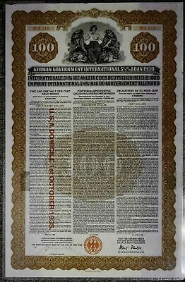 1930 German 5 1/2% Gold Bond $100 Laminated Cancelled no coupons Great shape