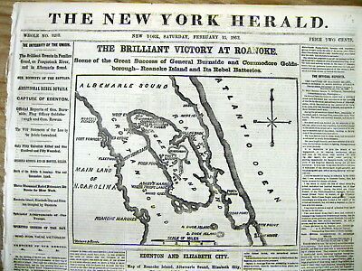 1862 CIVIL WAR newspaper wth 2 Large Front page MAPS BATTLE OF ROANOKE ISLAND NC