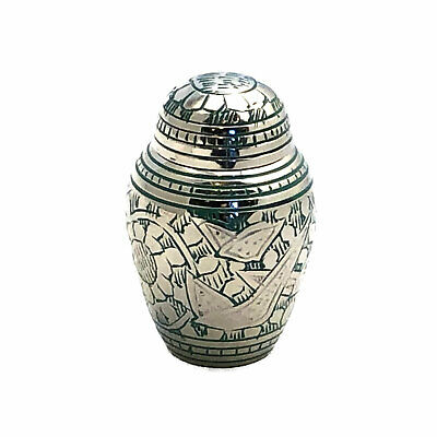 Well Lived® Small Brass Light Green Birds Cremation Urn Keepsake set of 4