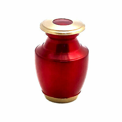 Well Lived® Small Brass Red Glossy Keepsake Cremation Urn for human ashes