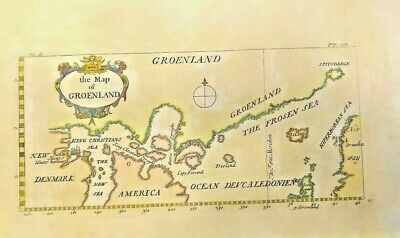 GENUINE Antique Map of Groenland (GREENLAND) 1690. BEAUTIFUL AND FRAMEABLE.