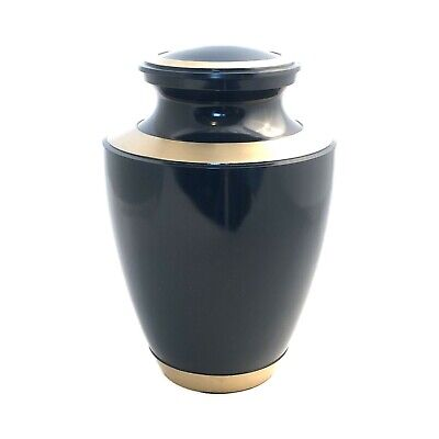 Well Lived® Brass Navy Blue Adult Cremation Urn for human ashes