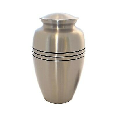 Well Lived® Brass Mat Silver Adult Cremation Urn for human ashes