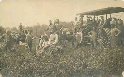 c1910 Farm Agriculture Steam Engine Tractor Occupation Workers RPPC Postcard