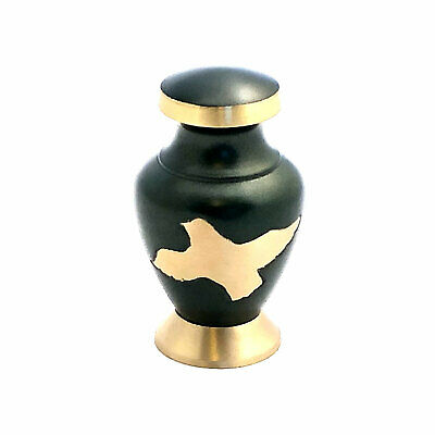 Well Lived™ Small Brass Green Birds Keepsake Cremation Urn for human ashes