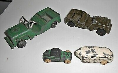 Lot 4 Vintage Tootsietoy Metal Masters Army Trucks, Tourist Trailer, Trailer Car