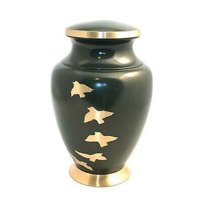 Well Lived® Brass Green Birds Adult Cremation Urn for human ashes