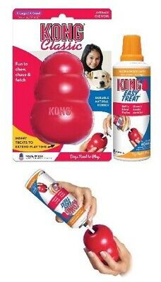 New KONG Classic Red Dog Toy Extra Large PLUS Easy Treat Stuffing Cheese Bacon
