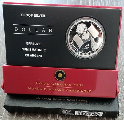 2005 Canada Pure 99.9% Silver Proof $1 Dollar Coin - Canada's National Flag