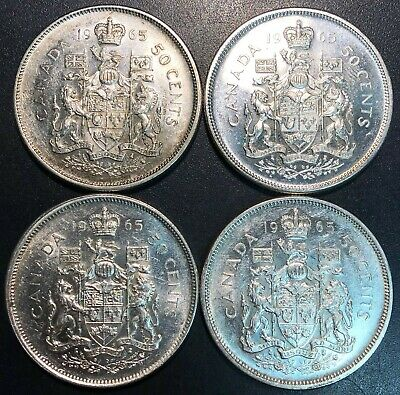Lot of 4x 1965 Canada 80% Silver 50 Cents Half Dollar Coins